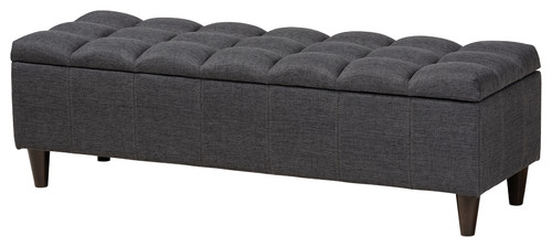 Jake Mid-Century Modern Fabric Dark Brown Wood Storage Bench, Charcoal