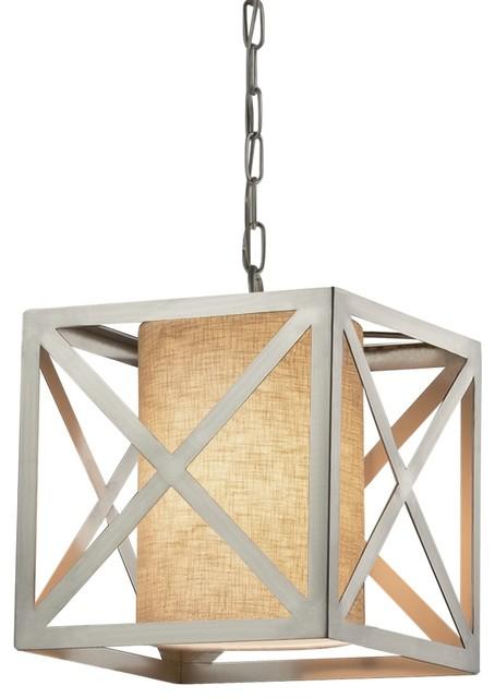 """Textile Hexa 12"""" Cube Drum Pendant, Nickel, Cream, Led."""