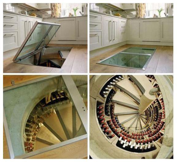 underground wine cellar spiral. round wine cellar. circular trap