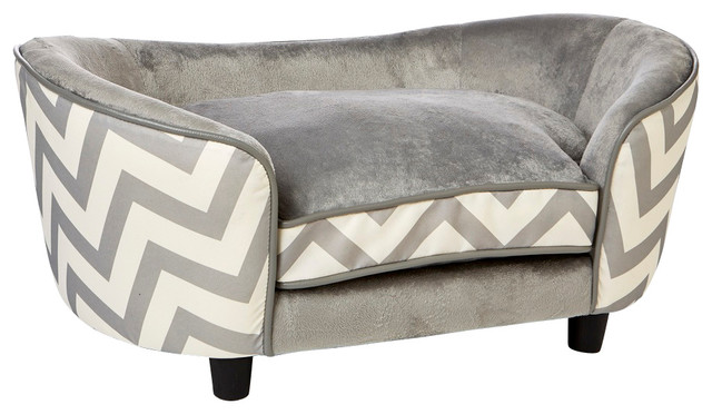 Ultra Plush Snuggle Dog Bed in Chevron Grey - Contemporary - Dog Beds - by Enchanted Home Pet