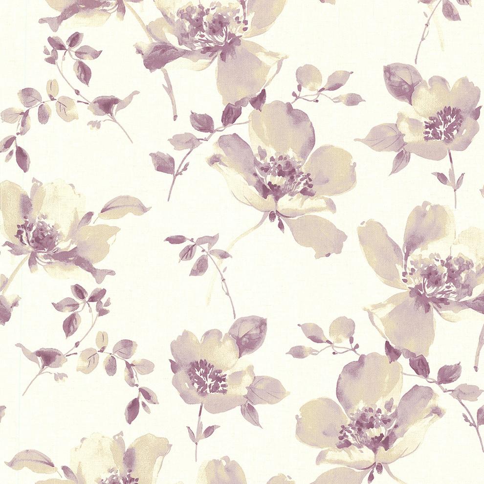 Ludor Purple Floral Wallpaper Contemporary Wallpaper By
