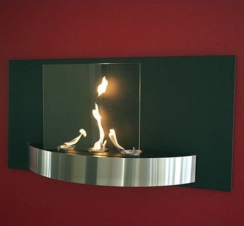 Vivo Wall Mounted Fireplace Tempered Clear Glass Black Heat Resistant and Brushe