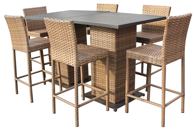 Tuscan Outdoor Wicker Pub Tables With Bar Stools 8 Piece Set Tropical Dining Sets By Design Furnishings