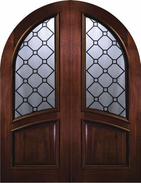 Prehung Entry Double Door 96 Mahogany Casablanca Round Top Glass Mediterranean Front Doors