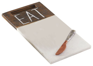 Mud Pie Quot Eat Marble And Wood Serving Board With Spreader