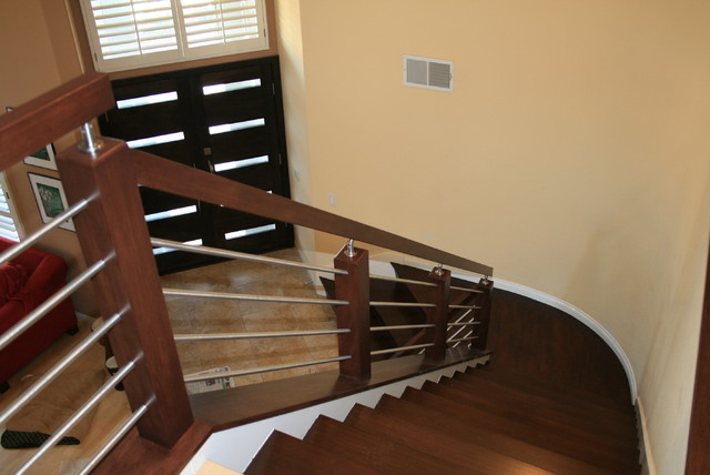 Wood Amp Stainless Contemporary Staircase San Diego
