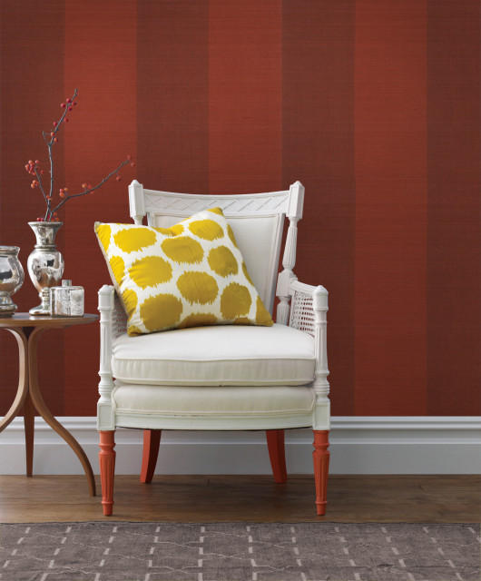 Yi Min Red Grasscloth Wallpaper Sample Contemporary