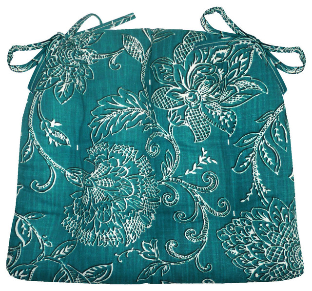 Benson Teal Chair Pad With Latex Foam Fill, Standard Transitional Seat  Cushions