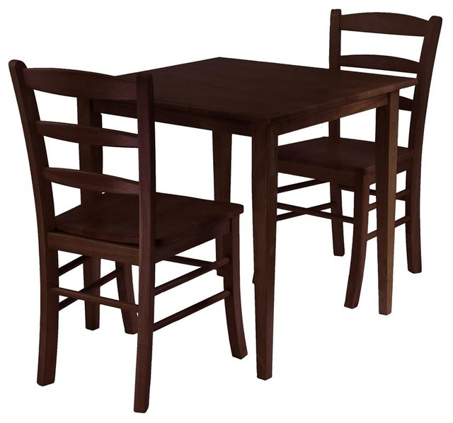 Winsome Groveland 3 Piece Square Dining Table With 2 Chairs Transitional  Dining Sets