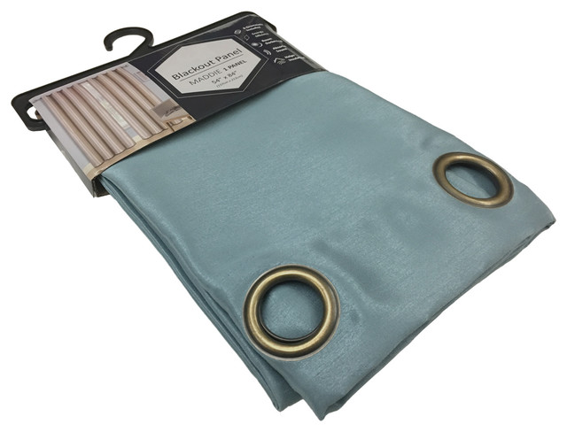 Maddie Grommet Blackout Light Filtration Single Curtain Panel 54&x27;&x27;x84&x27;&x27;, Blue.