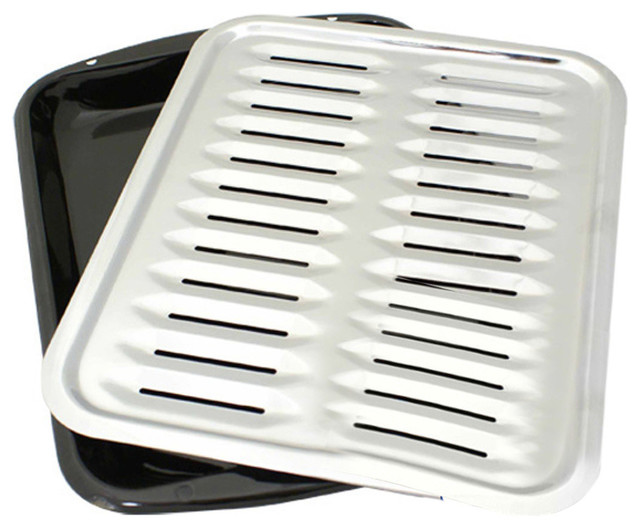 2-Piece Heavy Duty Porcelain And Chrome Plated Full Size Broiler Pan Range Kleen.