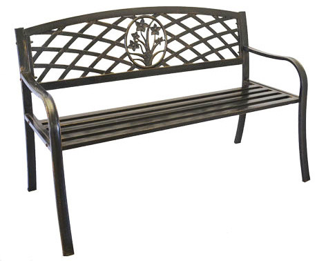 Home Garden Collections   Metal Flower Bouquet Park Bench, Cast Iron Bench  For Yard Or