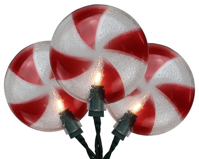 Peppermint Candy Shaped Christmas Lights, Green Wire 7&x27;.