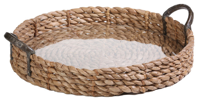 20 Quot Diameter Seagrass Serving Tray With Glass Insert