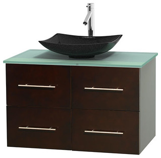 "Centra 36"" Espresso Vanity, Green Glass Top, Arista Black Granite"