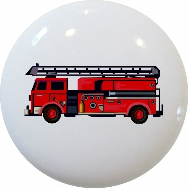 fire truck ceramic cabinet drawer knob