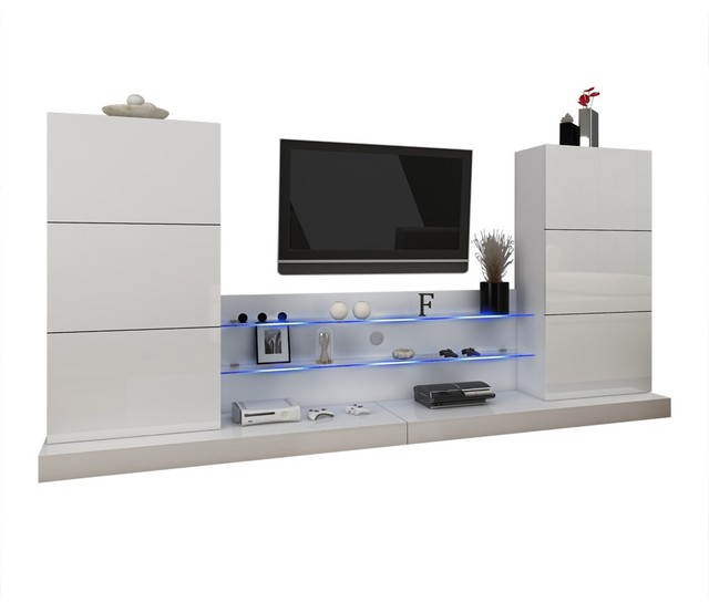 Ulm Modern Entertainment Center Wall Unit With Led Lights