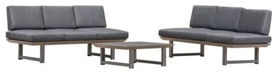 GDF Studio 3-Piece Brandy Outdoor Sofa Set, Dark Gray/Gray