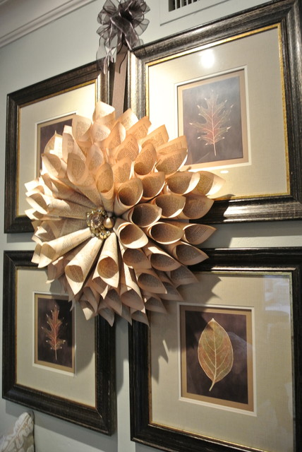Interior Designers Decorators DIY Christmas Wreath Made Out Of Antique Books Transitional