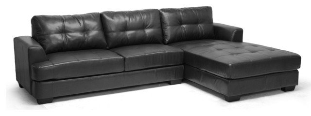 Baxton Studio Dobson Leather Modern Sectional Sofa - Transitional ...