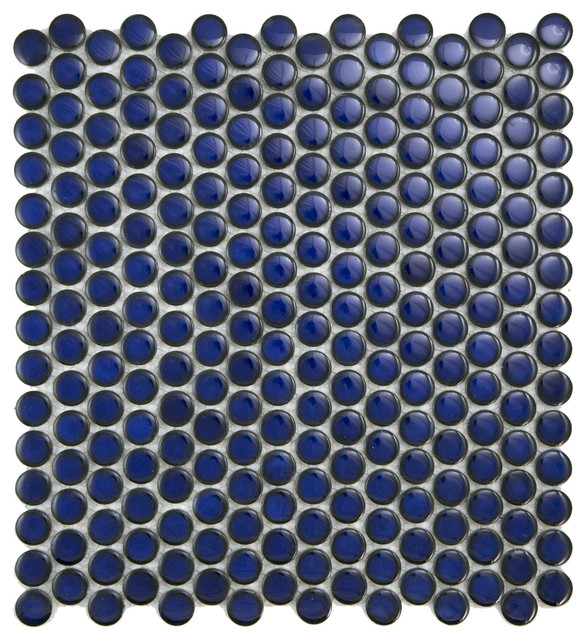 12x12 Cobalt Blue Penny Round Glossy Porcelain Mosaic