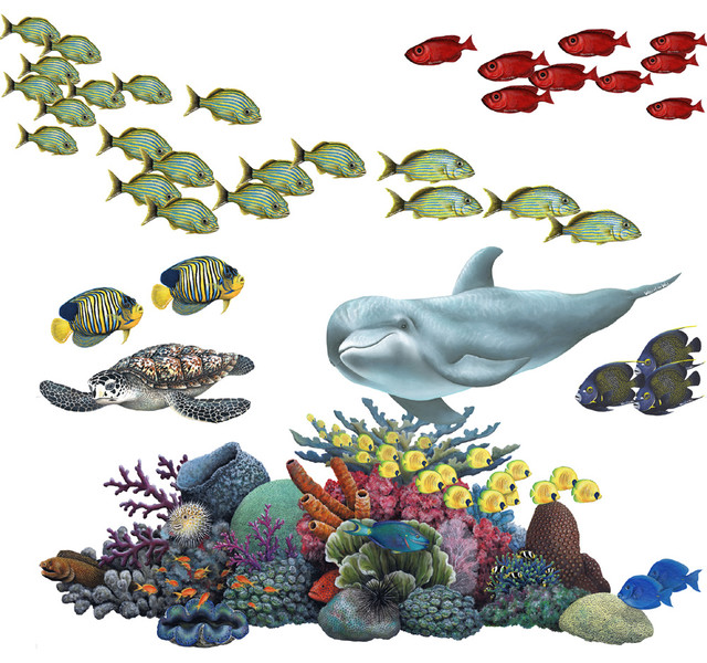 Beautiful Coral Reef Tropical Fish Sticker Mural Wall Decal Beach Style Wall Decals Part 32