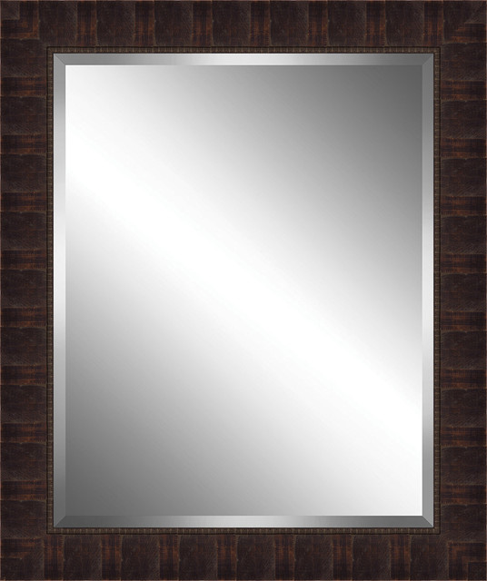 Distressed Brown Wood Framed Beveled Plate Glass Mirror.