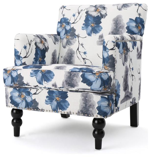 Manon Floral Print Fabric Club Chair. -1