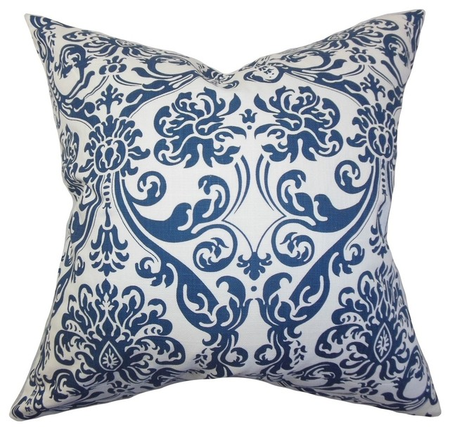 "Saskia Damask Pillow Navy Blue 18""x18""."