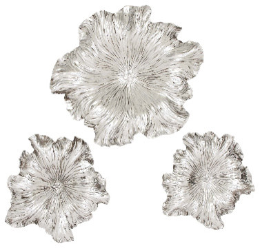 Metal Wall Flowers set of 3 round metal flowers wall plaques floral finish accent