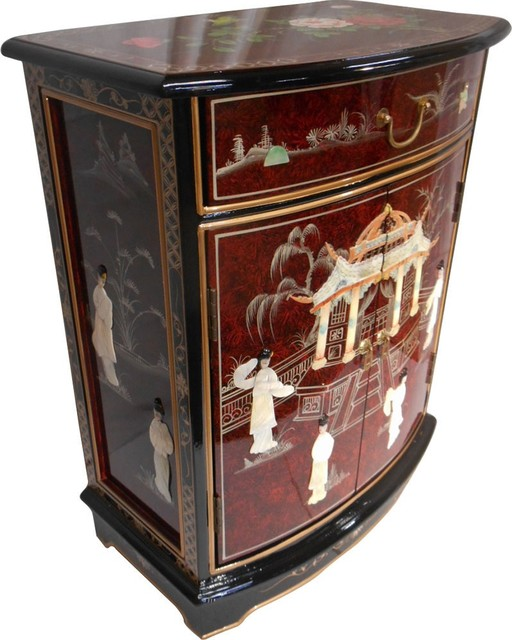 ORIENTAL FURNISHINGS - French Red Oriental Round Front Hall Cabinet - View in Your Room! | Houzz