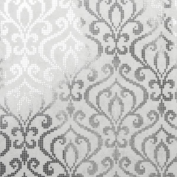 Venus Silver Foil Mini Damask Wallpaper Bolt