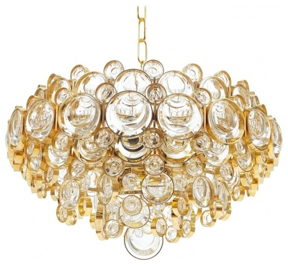 Large Gilt Palwa Brass and Glass Chandelier Contemporary – Brass and Glass Chandelier