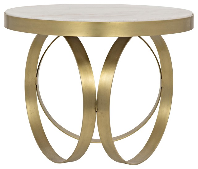 Cole Hollywood Regency Round White Stone Gold Antique Br Side End Table