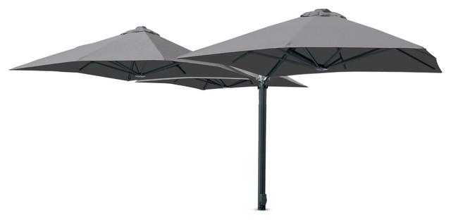 "8&x27;2"" Square Trio Slate Gray Umbrella, Portable Base And Led Lights."