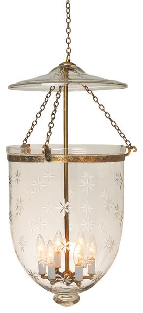 Star Etching Hundi Gl Bell Jar Lantern 14 D Antique Br