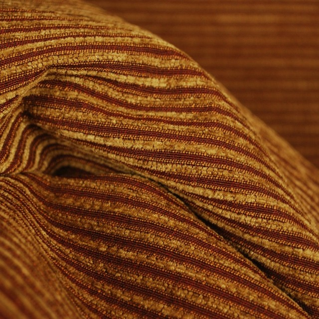 M8027 Nutmeg Chenille Ribbed Striped Upholstery Fabric