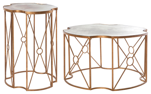 Marlene Hollywood Gold Antique Mirror Coffee End Table Set Of 2