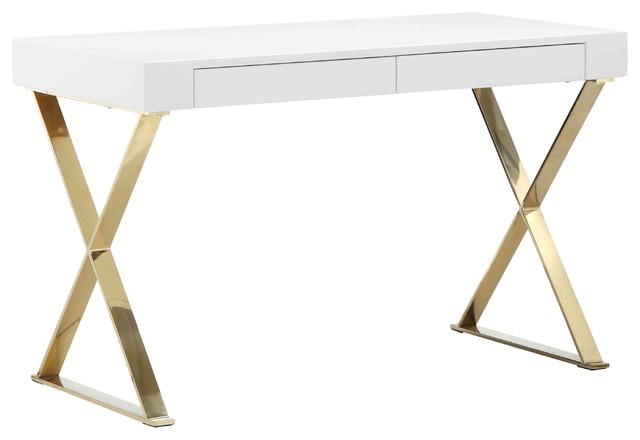 mason gold x leg desk contemporary desks and hutches by pangea home. Black Bedroom Furniture Sets. Home Design Ideas