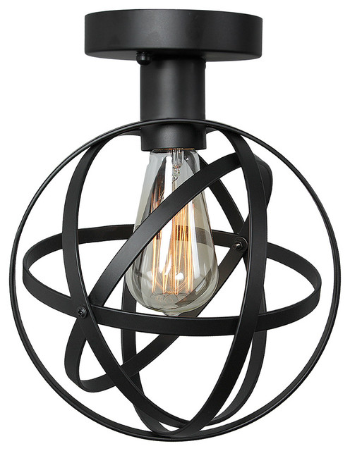 1 Light Globe Wire Cage Ceiling Light Black Industrial