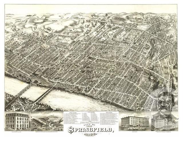 Historic Springfield Ma Map 1875 Vintage Massachusetts
