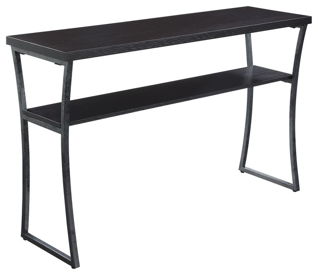 X-Calibur Console Table, Espresso/slate Gray Frame.