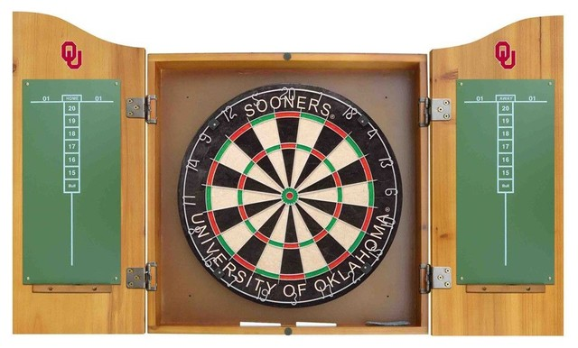 Oklahoma Sooners Dart Board and Cabinet - Modern - Darts And Dartboards - by Team Sports