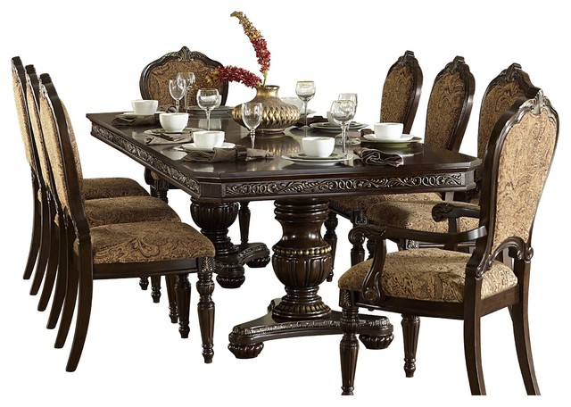 9 Piece Ragosta European Dining Set Pedestal Table 2 Arm 6 Side Chair Cherry Victorian Sets By Amoc