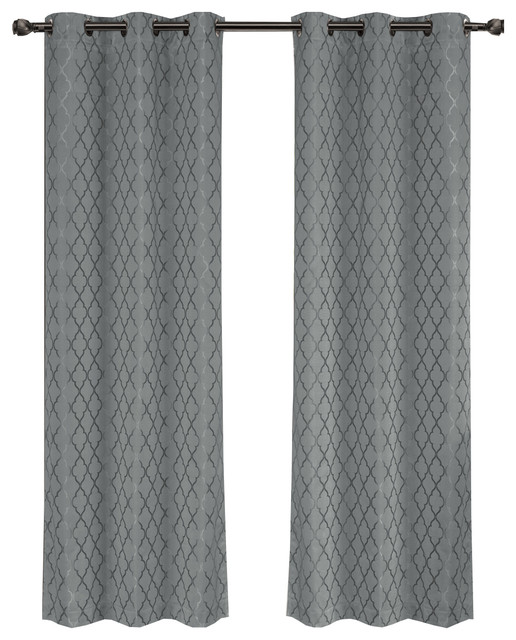 Willow Thermal Blackout Curtains With Grommets Set Of 2 Gray