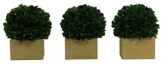 "Artificial Boxwood Ball Topiary Artificial Plant Tabletop In Pot 5.5""H, Set of 3"
