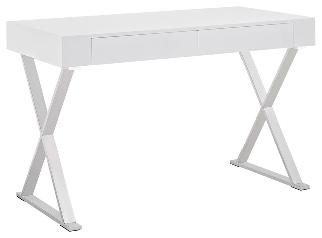 "Contemporary Computer Desk, ""jacob&x27;s Way"", White."