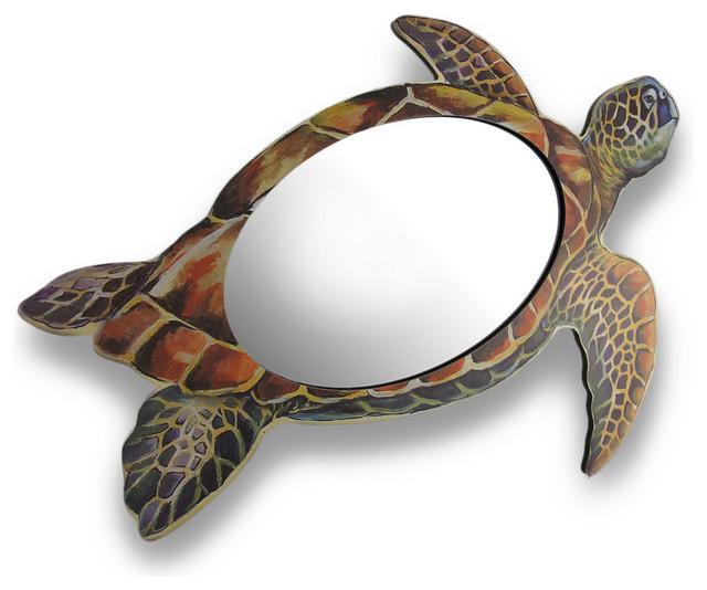 Zeckos Coloful Sea Turtle Shaped Hanging Wall