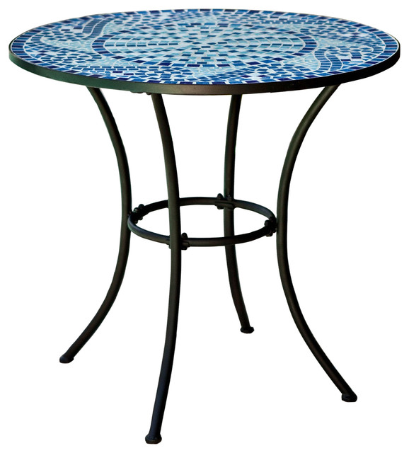 """30"""" Round Metal Outdoor Bistro Patio Table With Hand Laid Blue Tiles."""