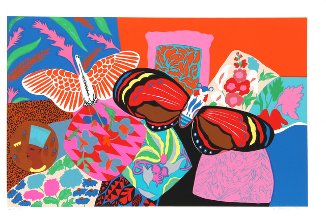 Hunt Slonem, Untitled, Bird and Butterfly, Serigraph